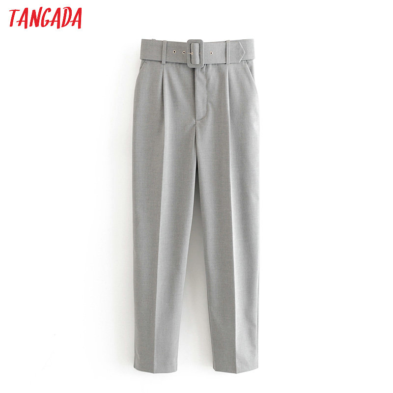Tangada 2020 Fashion Women Elegant Gray Suit Pants Trousers With Slash Pockets Zipper Office Lady Pants Pantalon 6A59
