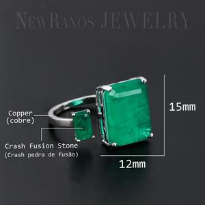 Image 3 - Newranos Square Fusion Stone Finger Ring Blue Natural Double Stone Opening Ring for Women Fashion Jewelry RFX001904