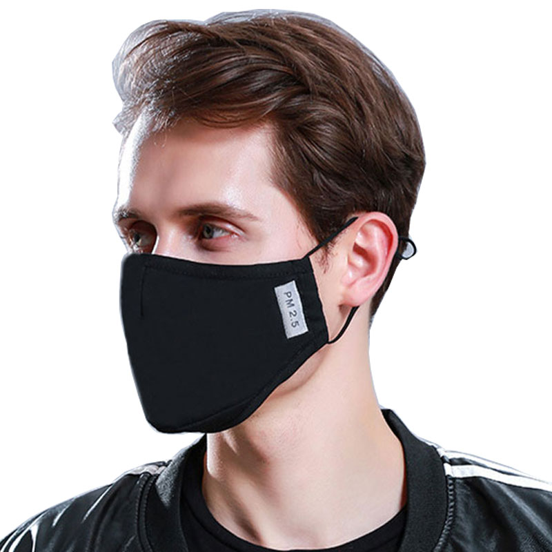Korean Cotton PM2.5 Black Mouth Face Mask Anti Dust Activated Carbon Filter Windproof Mouth-muffle Bacteria Proof Flu Masks