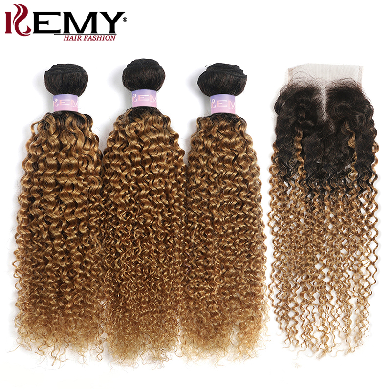 T1B/27 Kinky Curly Hair Bundles With Closure 4x4 Honey Blonde Brazilian Human Hair Weave Bundles With Closure Non-Remy KEMY HAIR