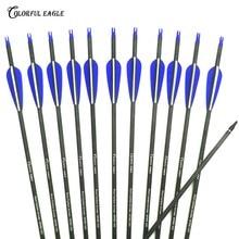28/30/31 polegada espinha 300 400 carbono puro seta id 6.2mm od 7.6mm tiro com arco para composto/recurvo ao ar livre esporte caça