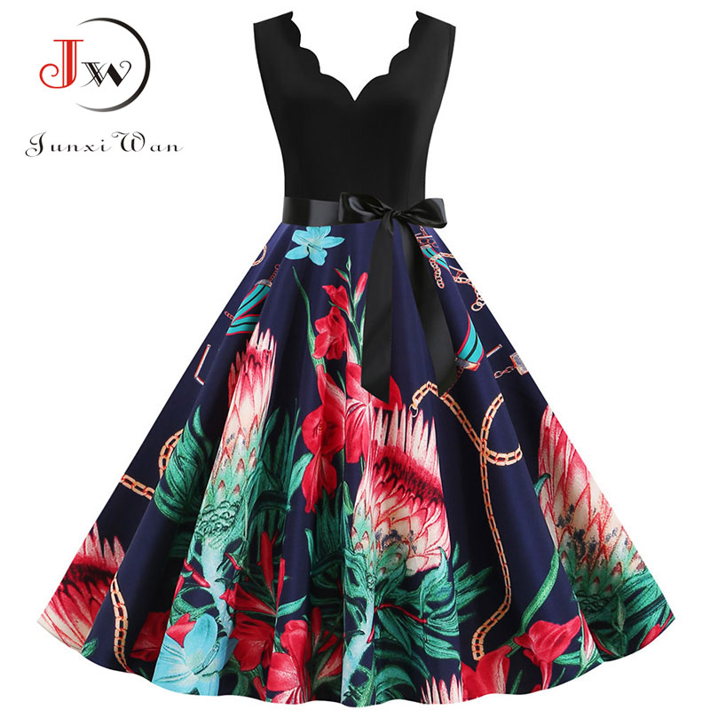 Women Floral Print Black Summer Dress Casual Sleeveless Petal V Neck Elegant Vintage Party Dress Robe Plus Size Vestidos S~3XL