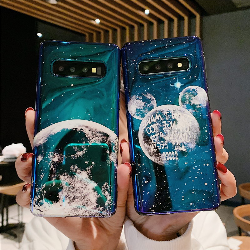 Cartoon Phone <font><b>Case</b></font> for <font><b>Samsung</b></font> Note 10 Plus <font><b>S7</b></font> <font><b>Edge</b></font> S8 S9 S10 Plus Note 8 9 10 Cover Cute MOUSE Ear Planet Moon <font><b>Silicone</b></font> Coque image
