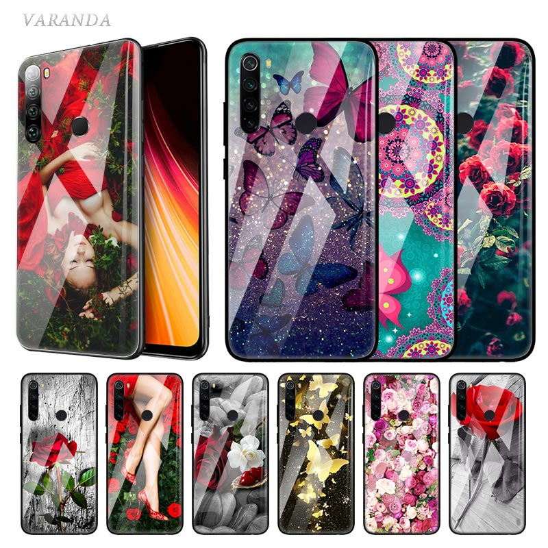 Butterfly Flower Rose Glass Case For Xiaomi Redmi Note 8T 7 8 6 K20 K30 8A Mi A3 CC9 9T 10 Pro Tempered Casing Phone Coque