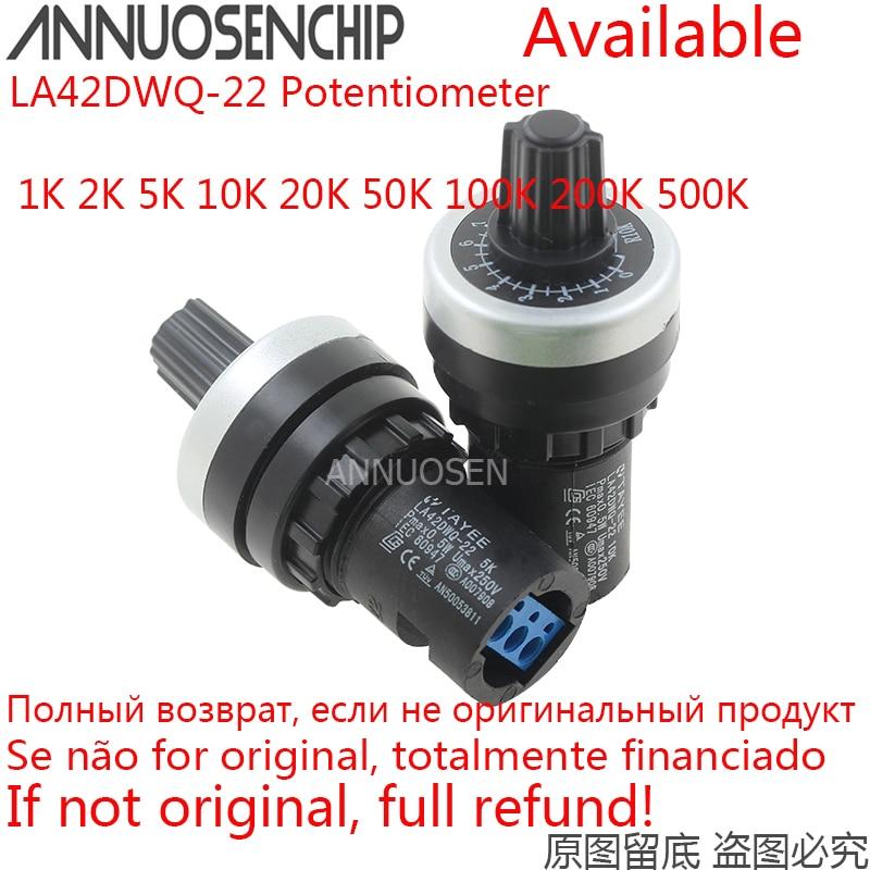 LA42DWQ-22 1k 2k 5k 10k 20k 50k 100k 22mm diâmetro potenciômetro rotativo conversor regulador inversor interruptor de resistência