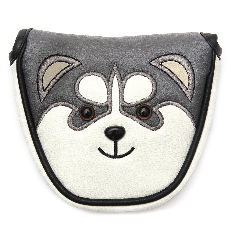 New Mallet Golf Putter Headcover PU Leather Dustproof Lovely Husky Animal Head Cover For Putter