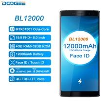 12000 Mah Snel Opladen 6.0 Android Smartphone 18:9 Fhd 4 Gb Ram 32 Gb Rom Quad Camera 16.0MP MTK6750T octa Core Doogee BL12000