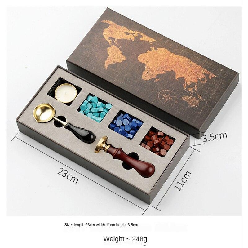 2021 DIY Custom Stamps Wax Seal Box Kit Detachable Stamp Spoon Set Sealing Beads Envelope Wedding Packaging Gifts Postcard