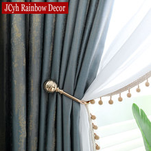 JCyh Top Luxury Blue Curtains For Living Room European Style Window Bedroom Rideaux Drapes Gordijnen Firany