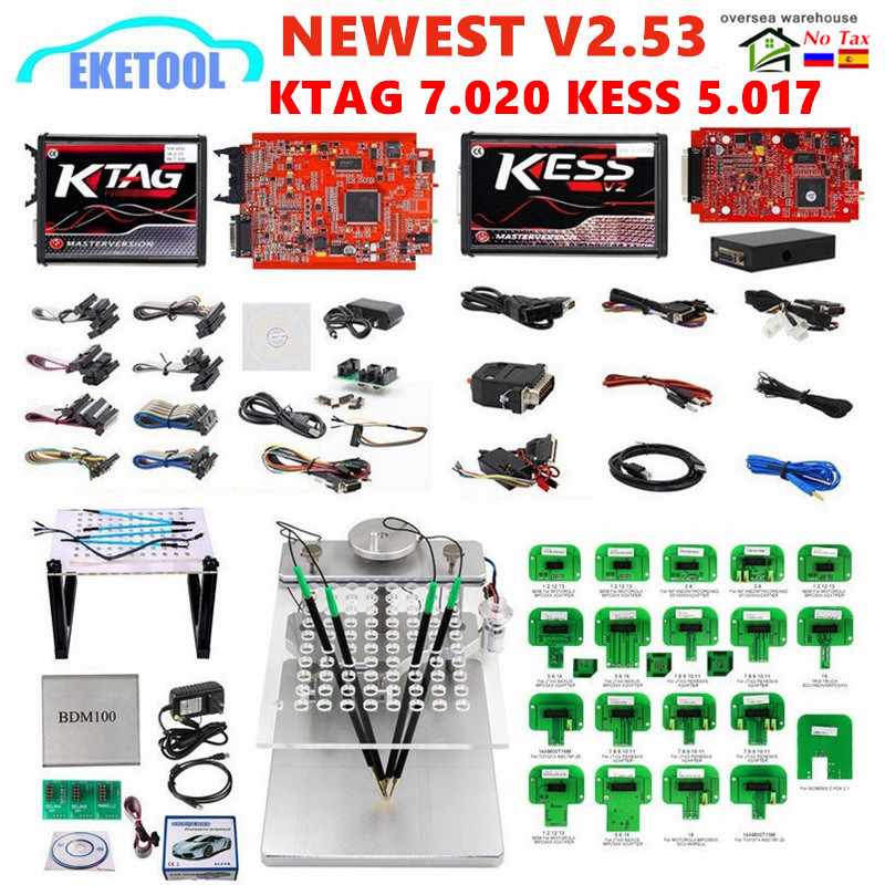 EU Red KESS V2 53 5 017 KTAG V2 25 7 020 Online Version LED BDM Frame BDM Probe 22pcs KESS 2 53 KTAG 4LED ECU Programming