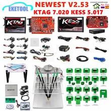 EU Red KESS V2.53 5.017 KTAG V2.25 7.020 Online Version LED BDM Frame BDM Probe 22pcs KESS 2.53 KTAG 4LED ECU Programming