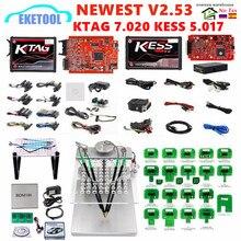 Ue czerwony KESS V2.53 5.017 KTAG V2.25 7.020 wersja Online rama LED BDM BDM sondy 22 sztuk KESS 2.53 KTAG 4LED programowanie ECU