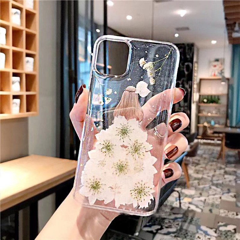 Real Flowers Dried Flowers Transparent Soft TPU Cover Case For iPhone X 6 6S 7 8 plus Clear Floral Phone Case For iphone XS Max