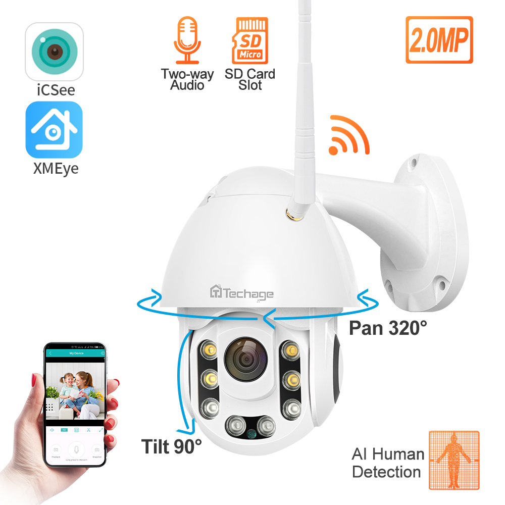 Techage IP Camera 1080P PTZ Wifi Camera AI Human Detection Abnormal Sound Alarm Home Security Camera Outdoor Waterproof CCTV
