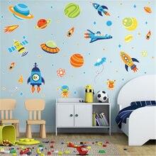 Espaço planeta foguete adesivos de parede bebê meninos quarto decalques mural dos desenhos animados foguete navio decorativo adesivos de parede para quartos das crianças