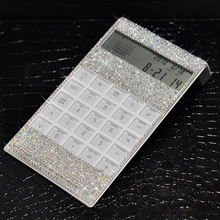8 Digits Crystal Office Calculator with Calendar Time Alarm Clock for Fashionable Desk Decorative Calculator, Office, Home Gift