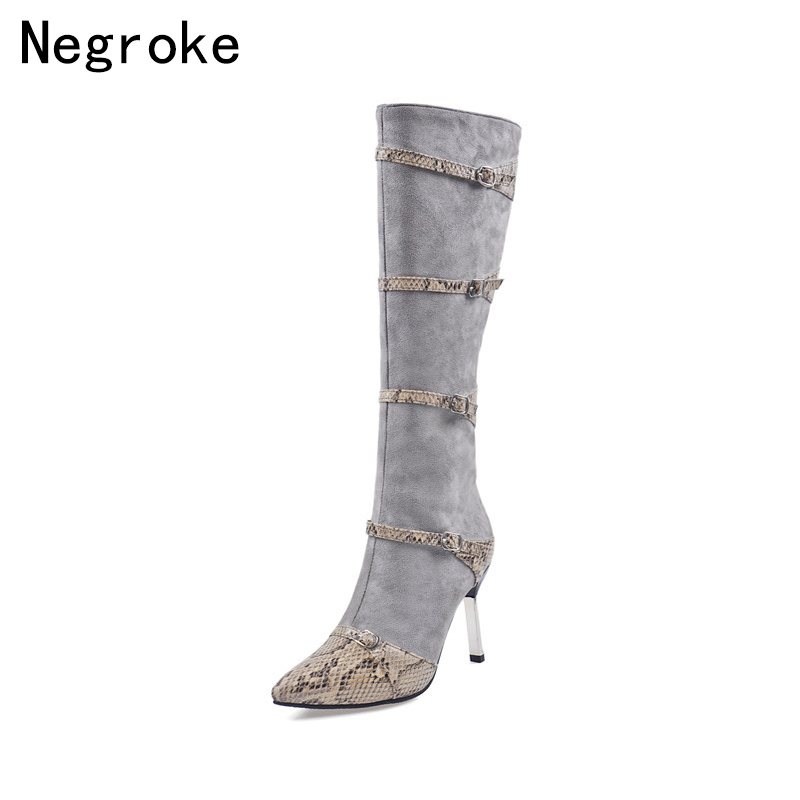 Sexy Women Winter Knee High Boots Thin Heels Long Big Size Shoes Over the Botas Mujer
