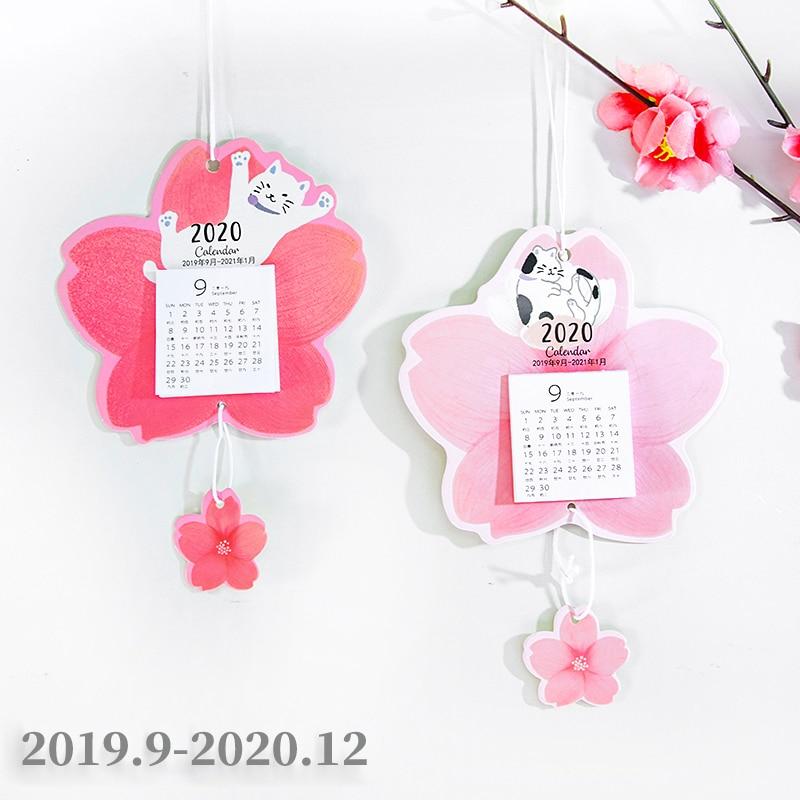 2020 Creative Cherry Blossom And Cat Calendar DIY Mini Kawaii Wall Calendars Daily Schedule Planner Office Supplies