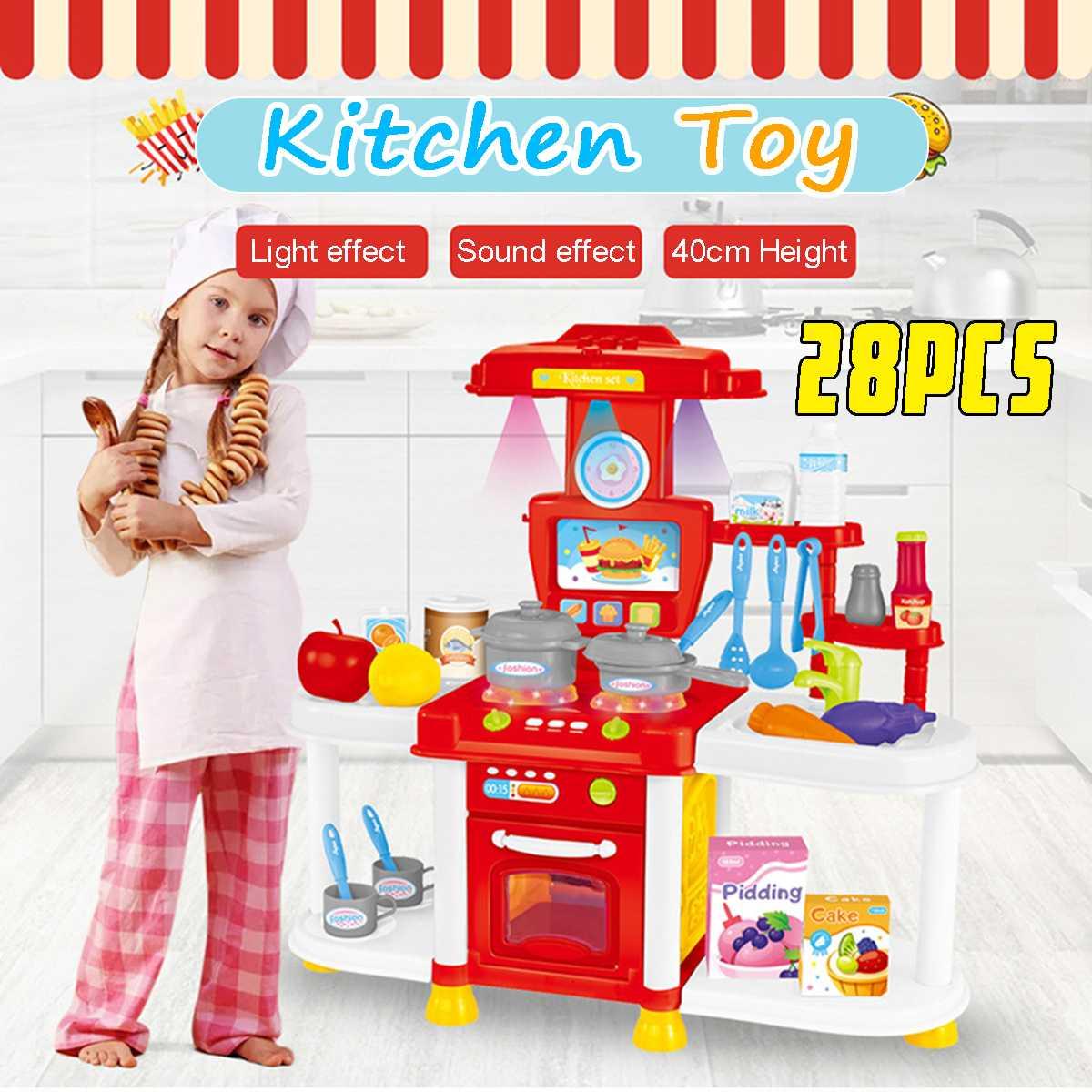 New Kids Kitchen Toy Simulation Kitchen Toy Light/Music Dinnerware Pretend Play Cooking Table Set Children Gift Cozinha Infantil