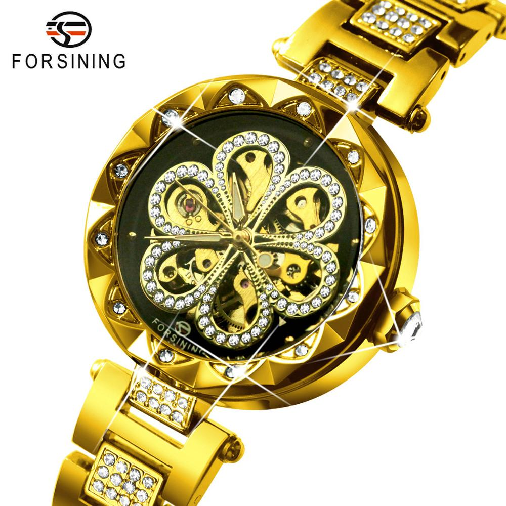 FORSINING Women's Fashion Watches Top Brand Luxury Automatic Mechanical Ladies Watch Bling Crystal Skeleton Dial Golden Strap