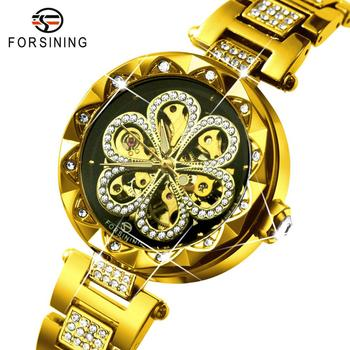 FORSINING Women's Fashion Watches Top Brand Luxury Automatic Mechanical Ladies Watch Bling Crystal Skeleton Dial Golden Strap forsining men watches top brand luxury mechanical skeleton watch black golden 3d literal design roman number black dial clock