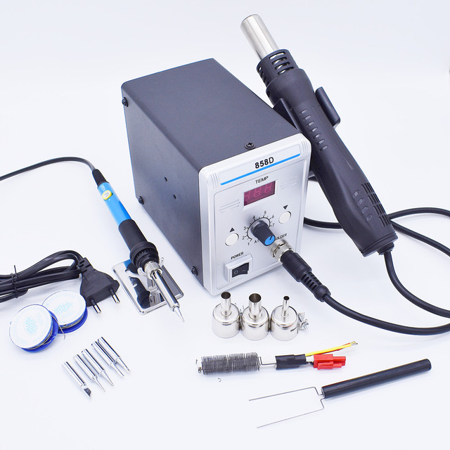 700W 858D 납땜 스테이션 LED 디지털 디 솔더링 스테이션 SMD 재 작업 솔더 스테이션 핫 에어 건 + 60W 솔더 아이언
