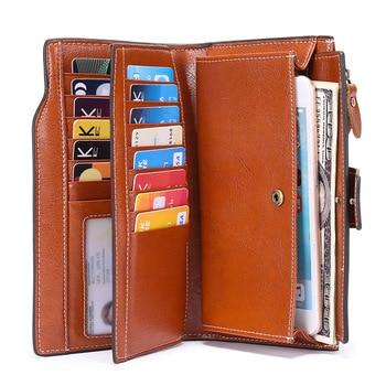 SENDEFN Fashion Women Wallets Long Split Leather Large Capacity Credit Card Wallet Phone Purse Female