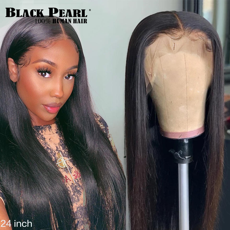 Wigs Human-Hair-Wigs Black Pearl Lace-Front Pre-Plucked Straight Brazilian for 13x4