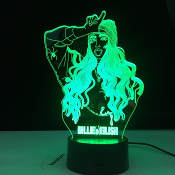 Billie Eilish Famous Singer 3D LED Lamp Illusion 7 Colors Changing Table Night Light Baby Bedside