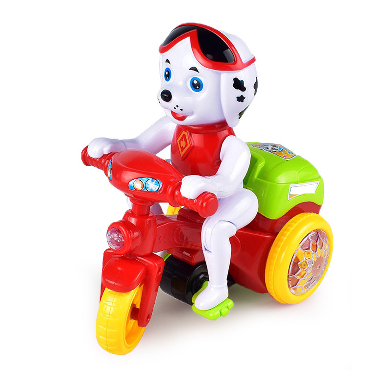 Douyin Celebrity Style Electric Universal Wheel Sound And Light Music Stunt Rotating Tilting Puppy Tricycle Stall Toy