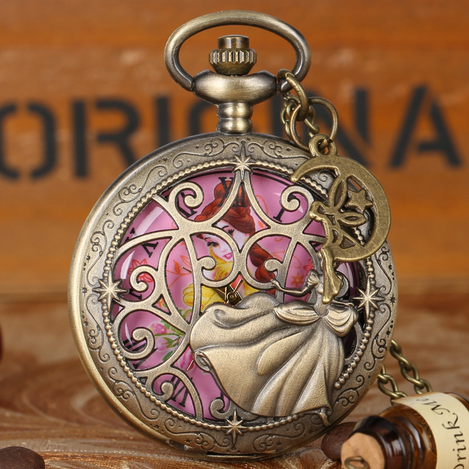 Fairy Dancing Lovely Princess Quartz Pocket Watch Exquisite Necklace Bronze Necklace Watch For Girl Women With Angel Accessory