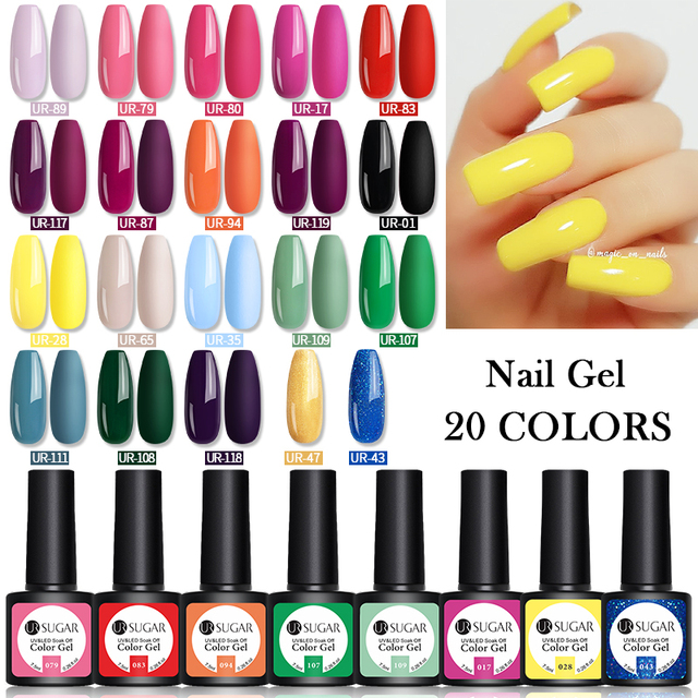 UR SUGAR 10/20pcs/Lot Gel Nail Polish Set 122 Colors Glitter Color Semi Permanent UV Led Gel Varnish Soak Off Nail Lacquers 6