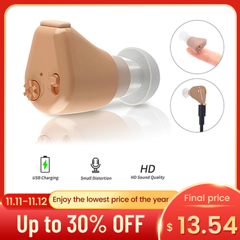Rechargeable Hearing Aids Sound Amplifier Invisible Hearing Aid Ear Hearing Amplifier Aid Mini Hearing Aid for Deaf/Elderly