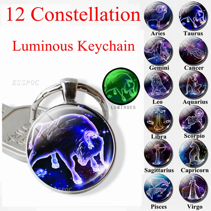 12 Constellation Keychain Luminous Glass Cabochon Jewelry Zodiac Signs Key Chain Aries Leo Taurus Libra Pendant Birthday Gift