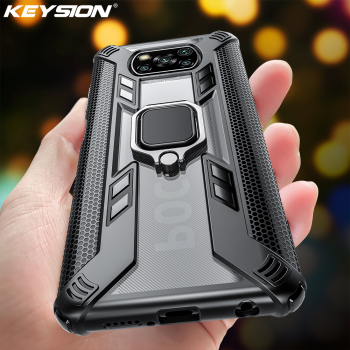 KEYSION Clear Shockproof Armor Case for Xiaomi POCO X3 NFC M2 Pro Ring Stand Phone Back Cover for POCO X3 NFC X2 F2 Pro
