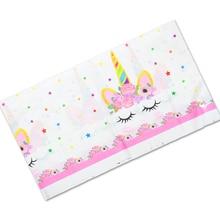 108*180 cm קישוט מסיבת יום הולדת מפות ילדים טובות Unicorn פרח נושא שולחן כיסוי שמח תינוק מקלחת פלסטיק מפת שולחן 1PCS