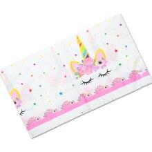 108*180 см, вечерние декоративные карты на день рождения, Детские сувениры, чехол для стола с изображением цветов единорога, пластиковая скатерть для детского душа, 1 шт.