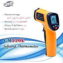 Цифровой Бесконтактный инфракрасный термометр BENETECH GM550E, лазерный датчик температуры, регулируемый пирометр 50 ~ 550C 0,95