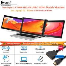 Eyoyo duplo portátil gaming monitor ips 1080p 13.3