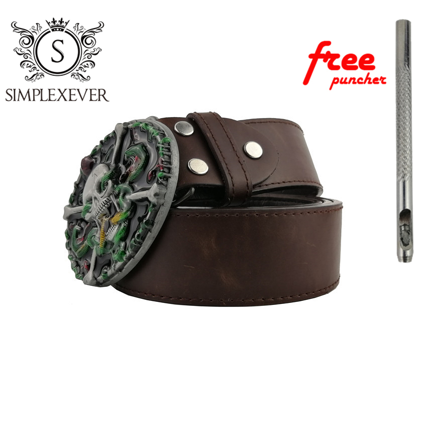 Ghost Pattern Zinc Alloy Skull Belt Buckle For Men Silver Metal Belt Buckle With Leather Belt As New Year Gifts