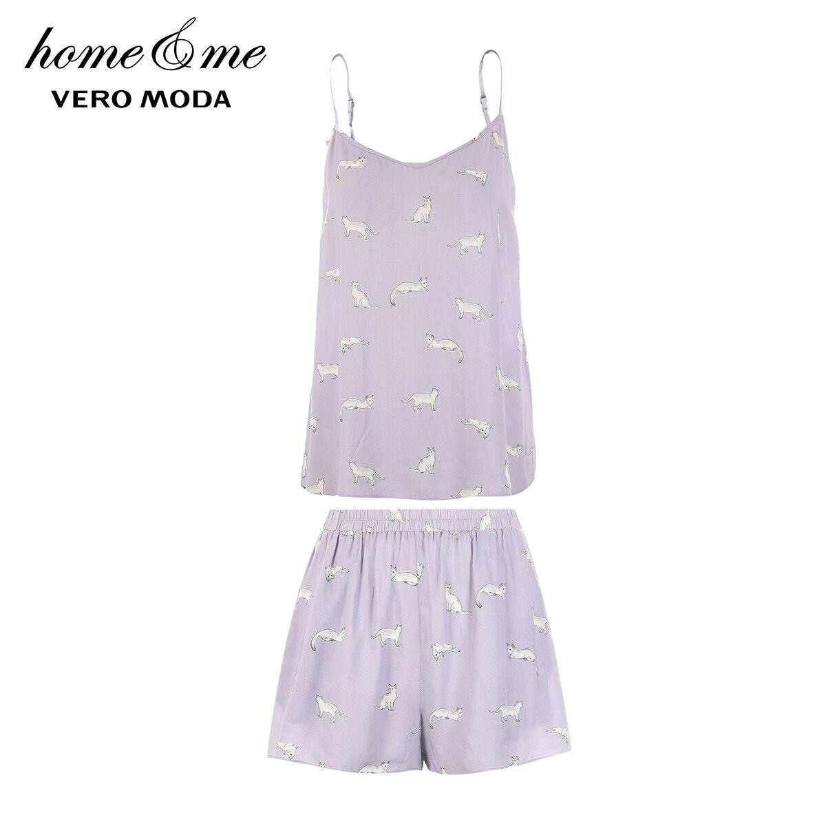 Image 5 - Vero Moda 2019 New Arrivals Cat Print Sun top Leisure Homewear Pajamas Set   3192TC505-in Pajama Sets from Underwear & Sleepwears