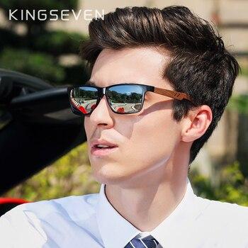 Мужские солнцезащитные очки с поляризованными линзами из орехового дерева KINGSEVEN