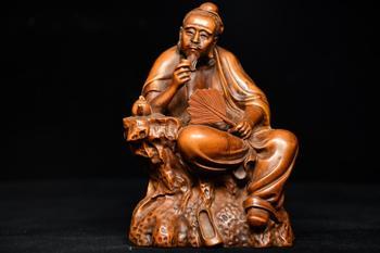 """7 """"estatua China de la suerte Seikos Boxwood de un experto en té en la estatua de la dinastía Tang de Lu Yu tea monograph"""" el clásico del té"""""""