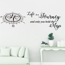 Life Is A Journey Travel Compass Map Quote Wall Decal Bedroom Classroom Words Sticker Vinyl Decor LW262