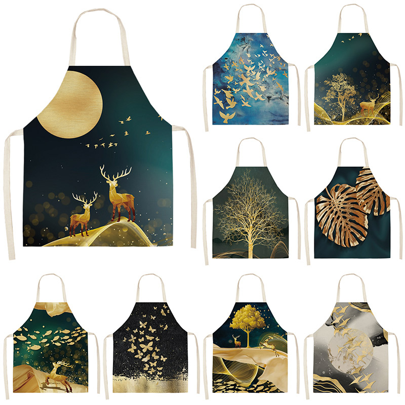 Golden Deer Butterfly Kitchen Aprons For Women Cotton Linen Bibs Household Cleaning Pinafore Home Cooking Apron 53*65cm WQL0190