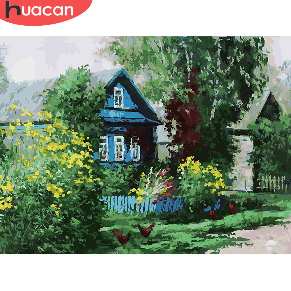 HUACAN Painting By Numbers House Scenery HandPainted Kits Drawing Canvas DIY Oil Pictures By Numbers Summer Landscape Home Decor