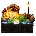 Цветочный горшок из смолы с лампой для суккулентов  креативный горшок для маленьких бонсай  микро-ландшафтное украшение сада