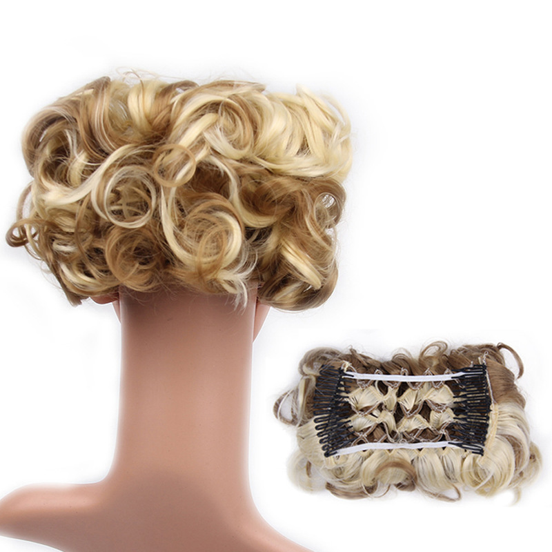 Large Comb Clip In Curly Hair Piece Chignon Updo Wedding Hairpiece Extension Bun