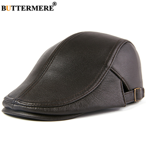 Image 5 - BUTTERMERE Men Beret Hat Real Leather Flat Cap Sheepskin Autumn Winter Male Brown Adjustable High Quality Gatsby Mens Beret Caps