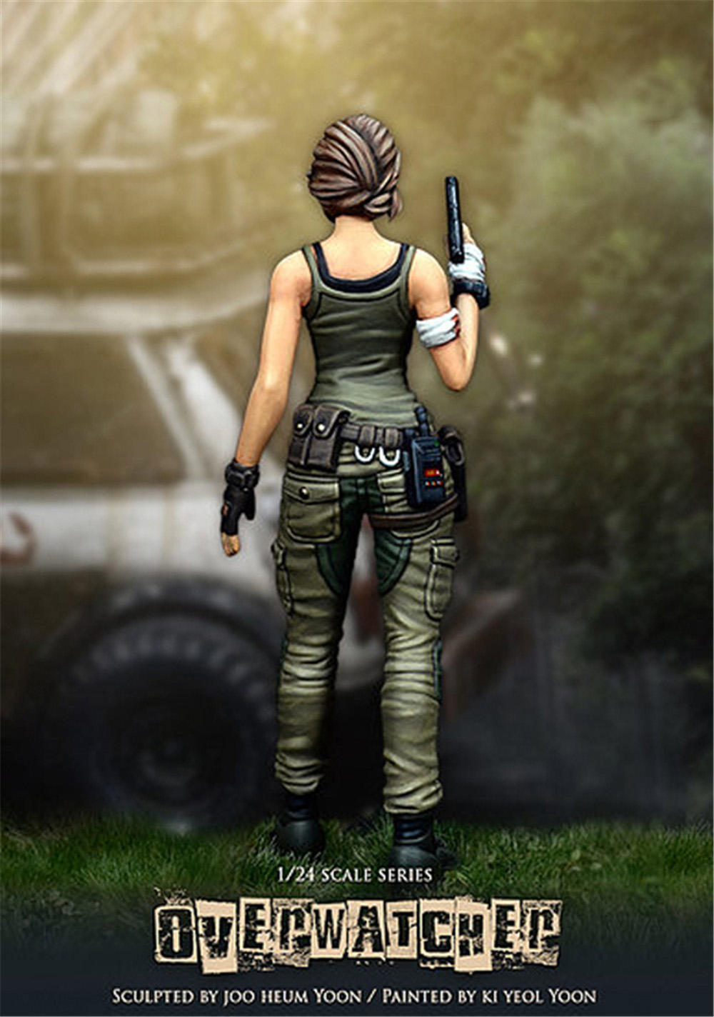 75mm Beauty Overwatcher Soldier Resin Figure 1/24 Scale Model Figure Resin Kit Colorless Self-Assembled Toy 3